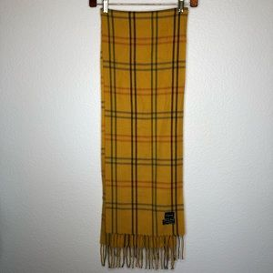Mustard yellow plaid scarf Made in Italy